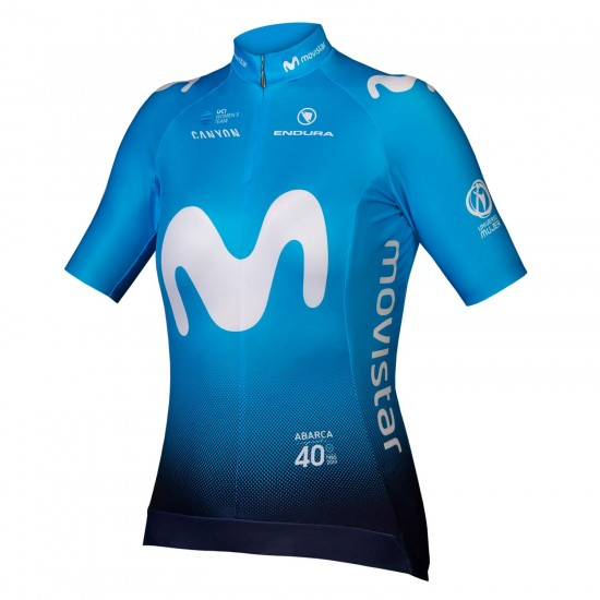 Movistar 2019 Womens Short Sleeve Cycling Jersey (Continuous Zipper)- 1111111