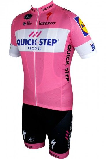 Quick-Step Floors 2018 Giro Special Edition Short Sleeve Cycling Jersey Rosa (Long Zip)